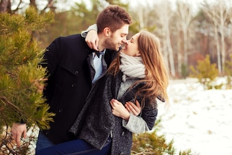 Couple in love smiling before kissing