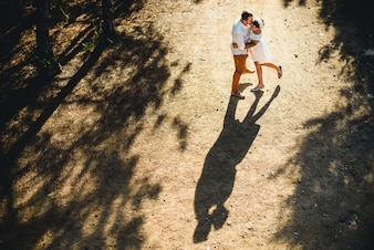 Couple kissing view from above