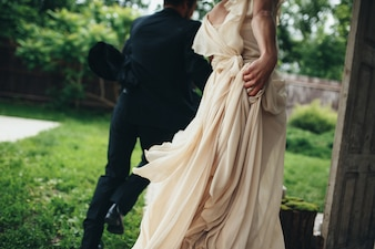Couple of newlyweds in a field
