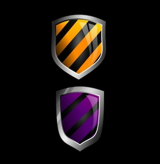 Couple of shields isolated on black