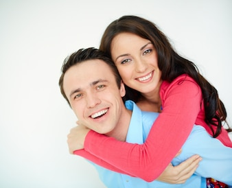 Couple playing and laughing together