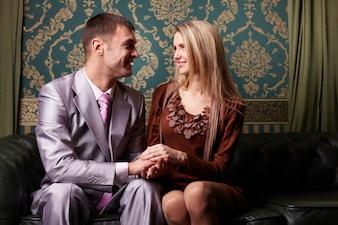 Couple positive relationship indoor feminine