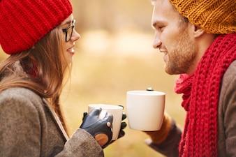 Couple pretty tea sweethearts attraction