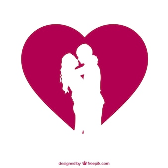 Couple silhouette with heart