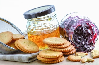 Crackers with Orange jam and Blueberry jam