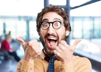 Crazy man.funny expression