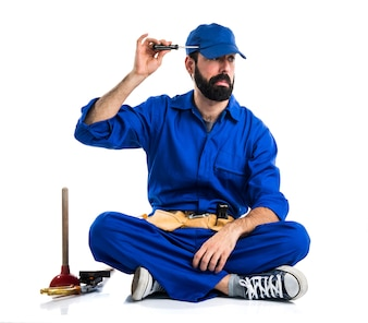Crazy plumber with his tools