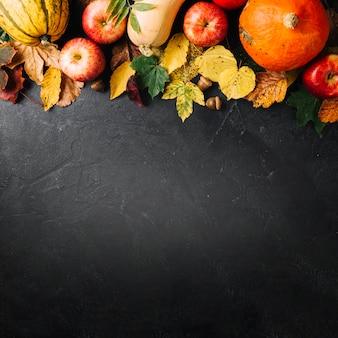 Creative arrangement of autumnal harvest