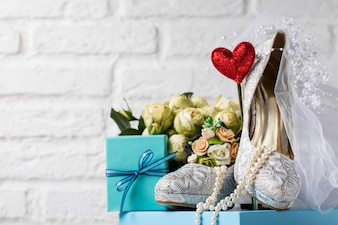 Creative arrangement of shoes and decor