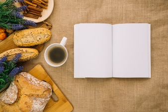 Creative book mockup with bread
