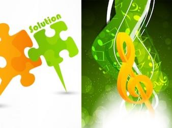 Creative puzzle music background vector set