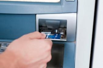 Credit card inside an atm