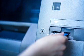 Credit card operation is used at bank ATM