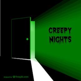 Creepy door vector