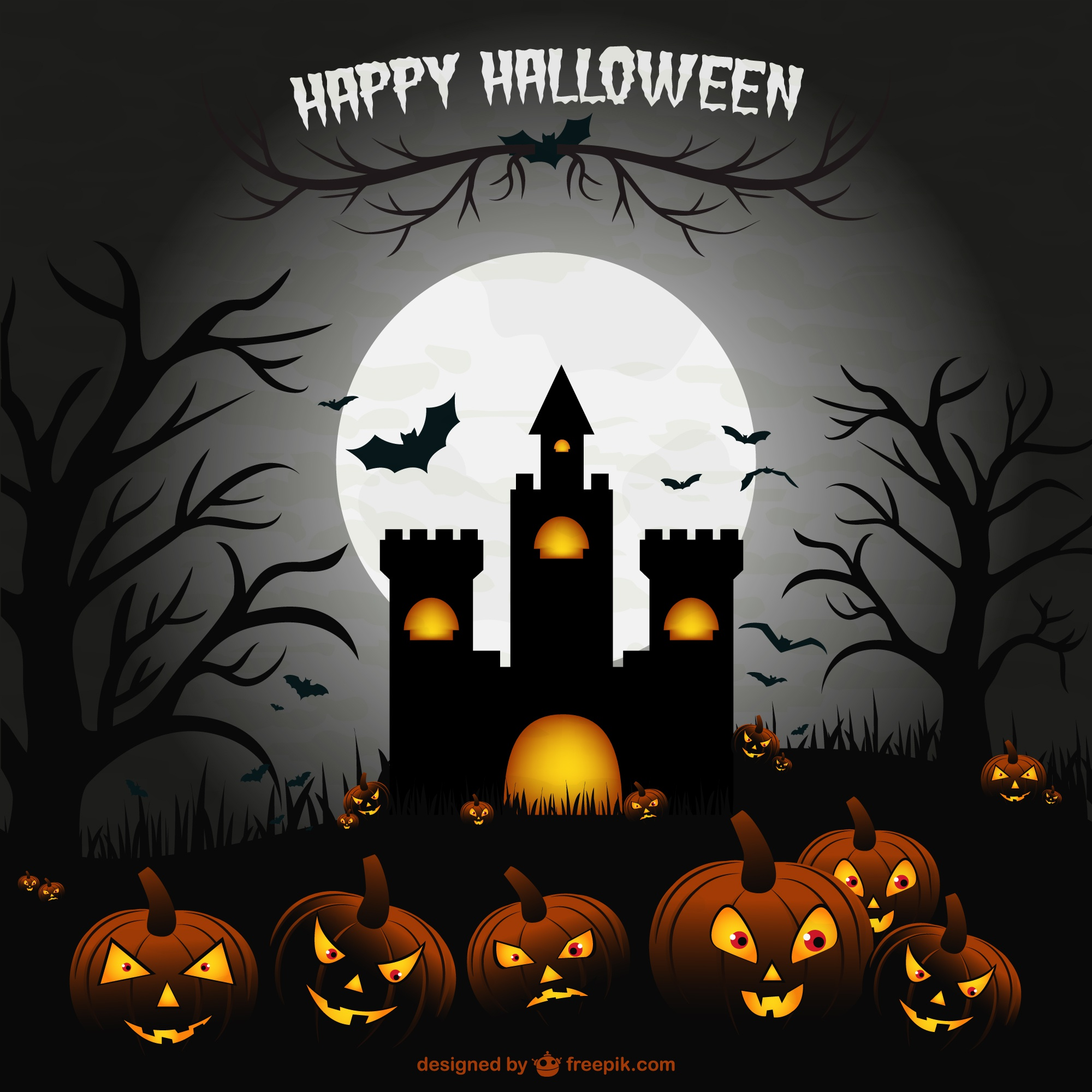 Creepy halloween castle illustration scene