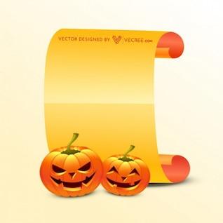 Creepy halloween pumpkins with scroll
