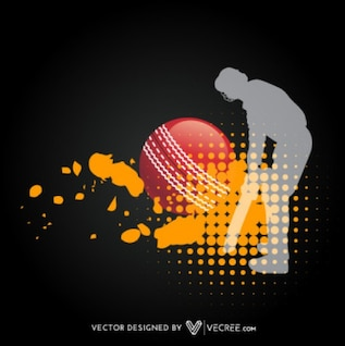 Cricket Player Artistic Silhouette