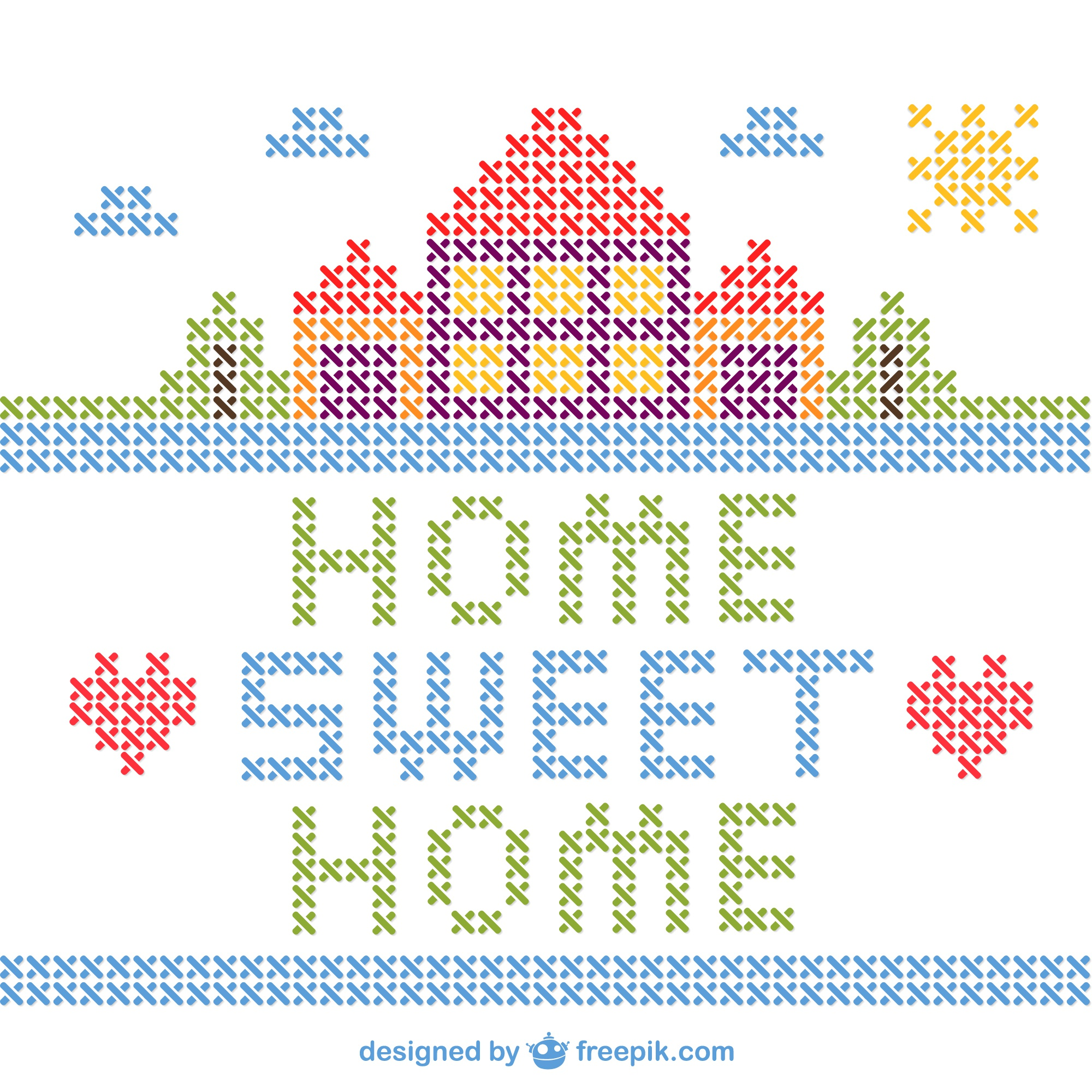 Cross stitch home sweet home vector
