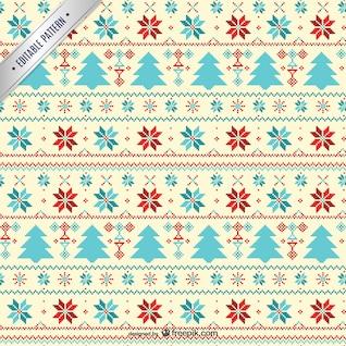 Cross stitch style Christmas pattern