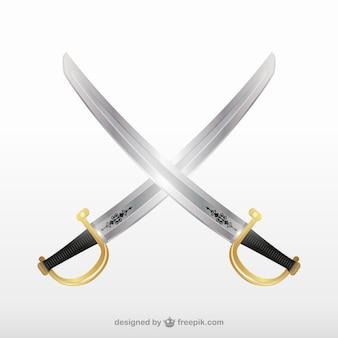Crossbones pirate swords