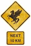 crossing road grunge sign   standing pegasus