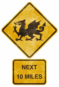 Crossing road grunge sign   welsh dragon