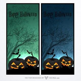 Crreepy halloween banners with dark pumpkins