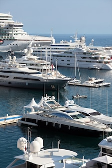 Cruise ships and yachts in monaco harbor