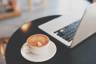 Cup brown foam dark computer