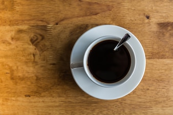 Cup of coffee viewed from above