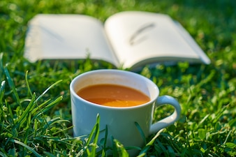 Cup of coffee with a book open next to it on the lawn