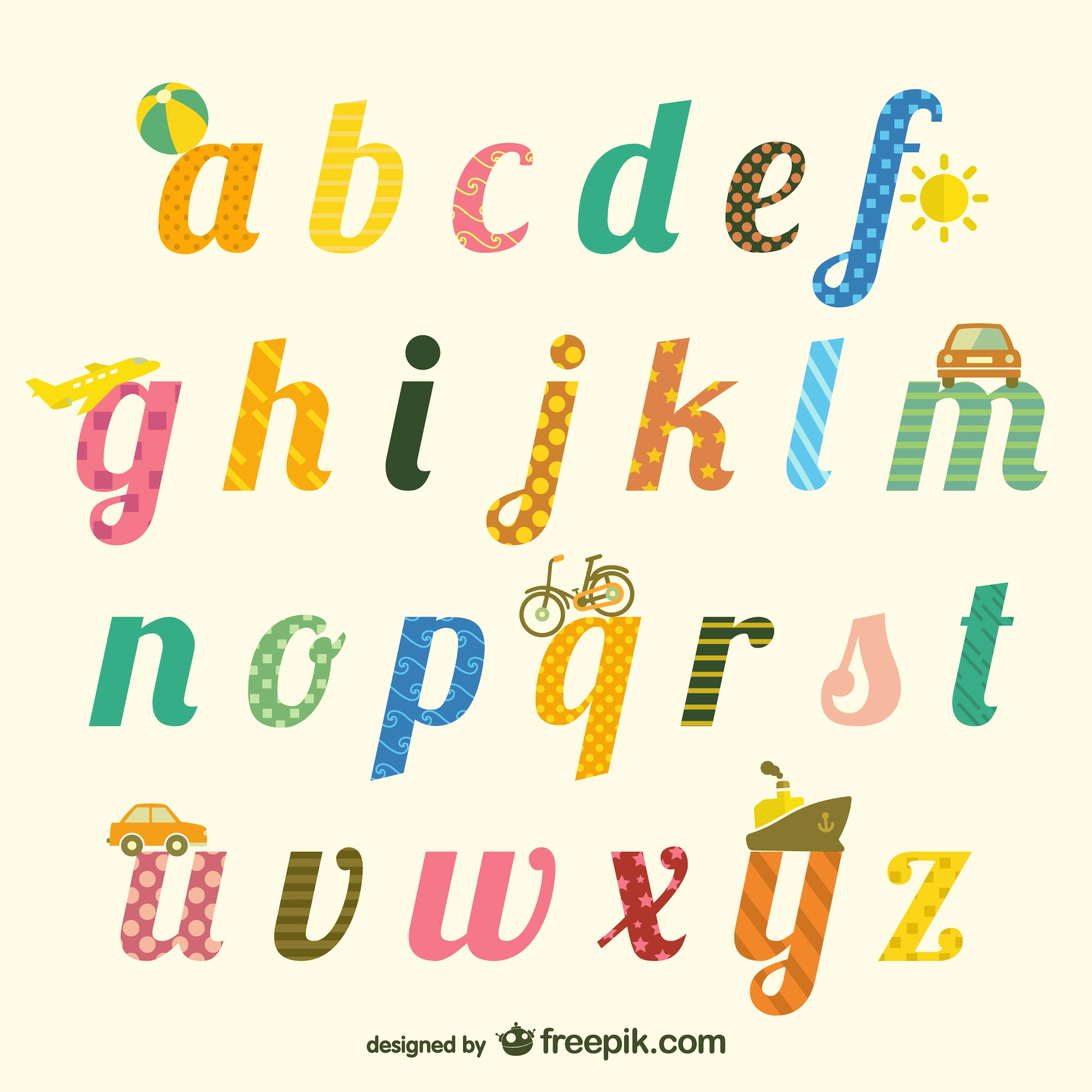 Cute alphabet typography