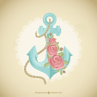 Cute anchor with flowers