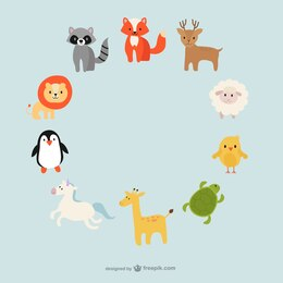 Cute animals circle