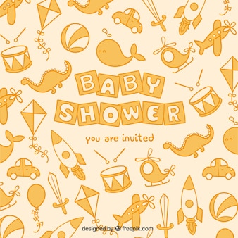 Cute baby shower card with toys