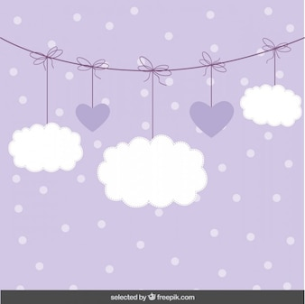 Cute background with clouds and hearts