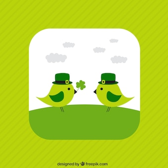 Cute birds for Saint Patricks day