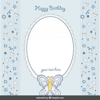 Cute blue birthday card with butterfly