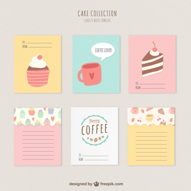 Cute cakes and coffee cards