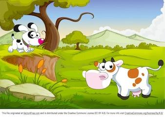 Cute cartoon animals on green landscape