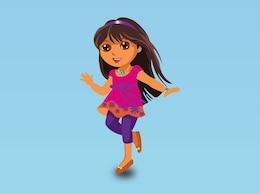 Cute cartoon girl happy vector