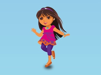 Cute cartoon girl happy vector