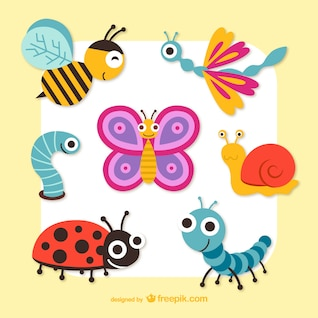 Cute cartoon insects vector graphics