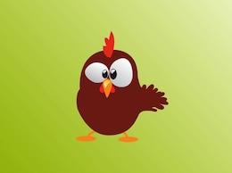 Cute confused cartoon chicken vector