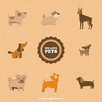 Cute dogs vector symbols