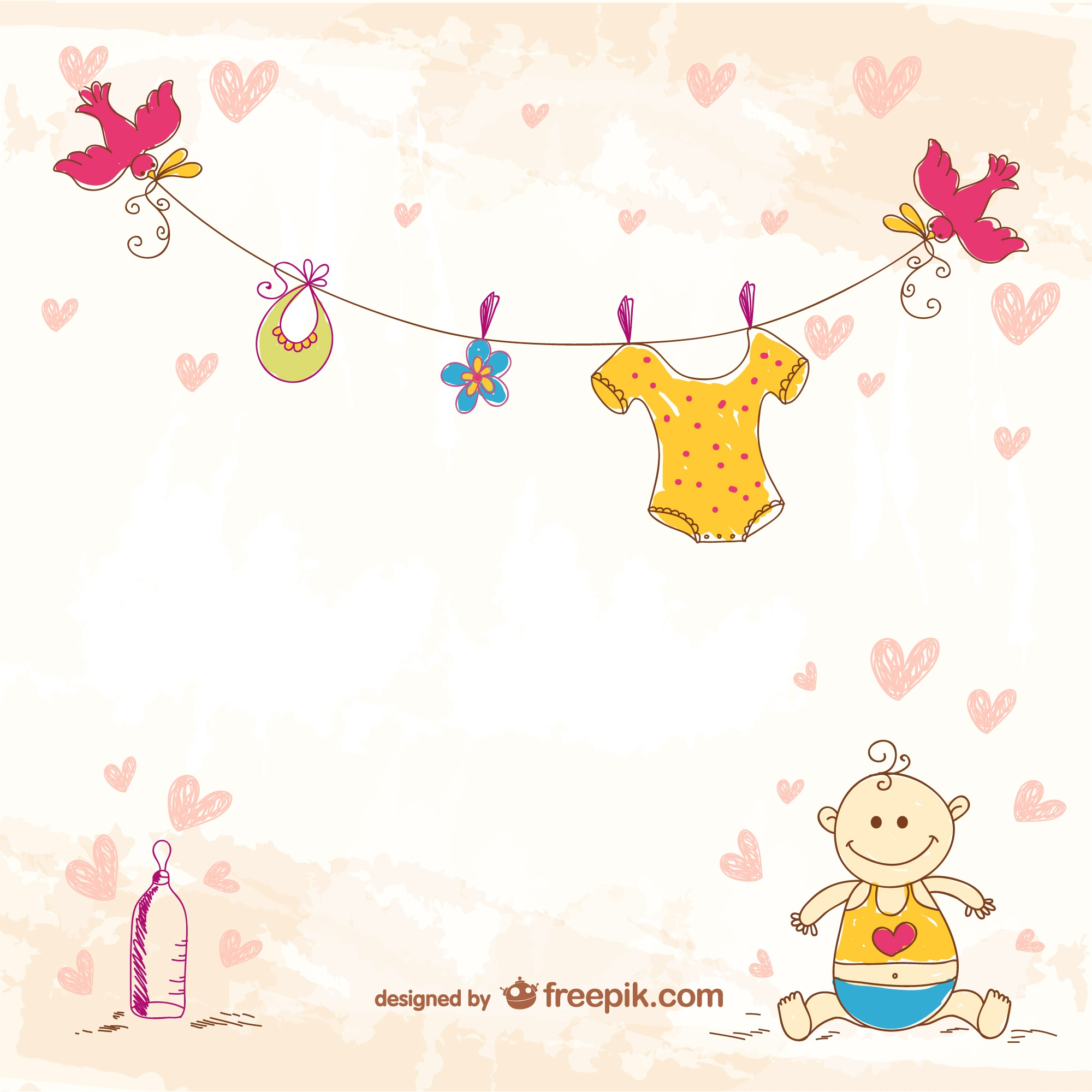 Cute doodle baby template