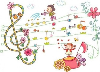 Cute drawing with girls and sheet music