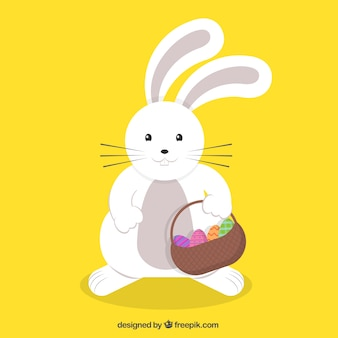 Cute easter bunny with a basket