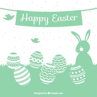Cute easter card with silhouettes
