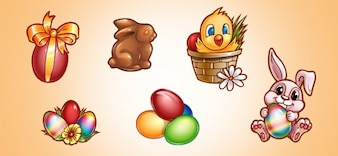 Cute easter elements pack PSD